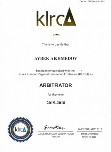 Aybek Ahmedov listed as arbitrator by Kuala Lumpur Regional Centre for Arbitration (KLRCA)