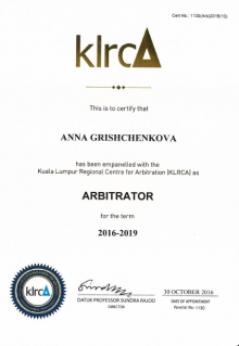 Anna Grishchenkova listed as arbitrator by Kuala Lumpur Regional Centre for Arbitration (KLRCA)